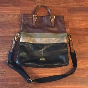 Authentic Fossil Explorer Leather Tote Bag